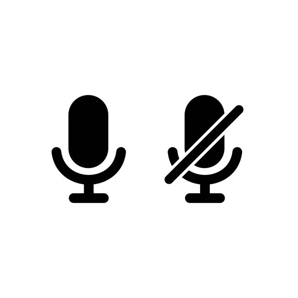 Microphone icon with turn off microphone for device simple design Microphone icon with turn off microphone for device simple design microphone stock illustrations