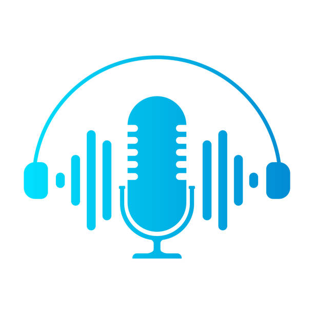 microphone icons on white background. vector illustration. - podcast stock illustrations
