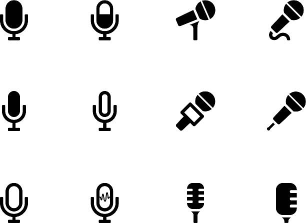 Microphone icons The illustration was completed July 30, 2013 and created in Adobe Illustrator CS6. microphone stock illustrations