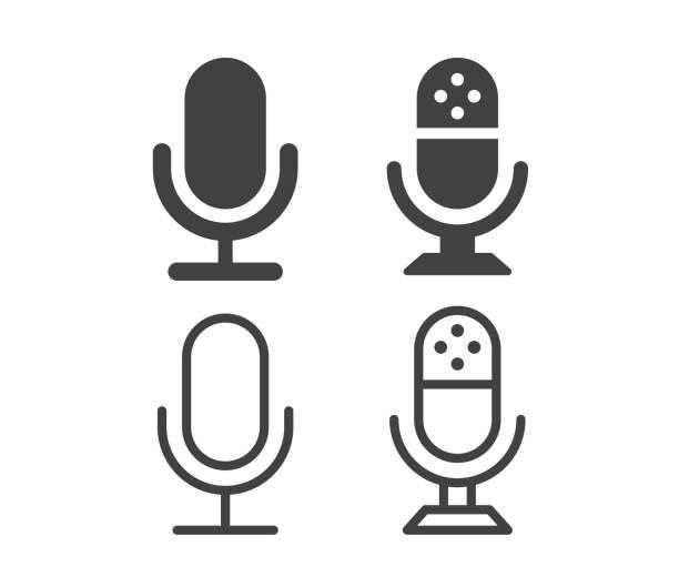 stockillustraties, clipart, cartoons en iconen met microfoon - illustratiepictogrammen - podcast