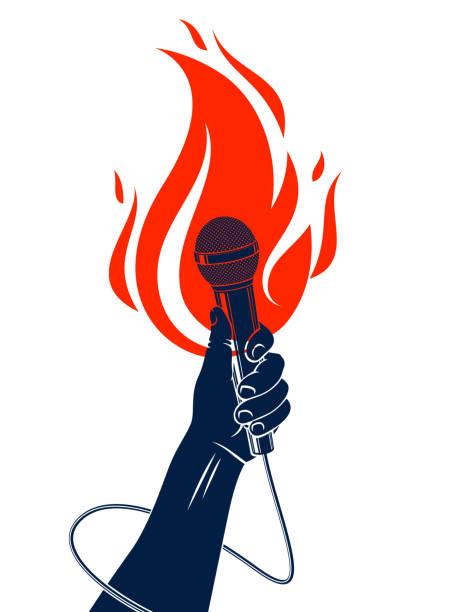 illustrations, cliparts, dessins animés et icônes de microphone à la main sur le feu, hot mic dans les flammes live show, rap batailles rime musique, festival de concert ou étiquette de club de nuit, karaoké chantant ou standup comédie, vecteur, impression de t-shirt. - hip hop