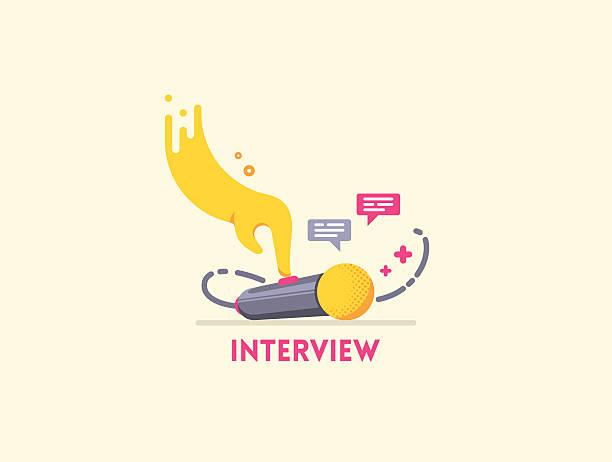 stockillustraties, clipart, cartoons en iconen met microphone interview icon. - journaal presentator