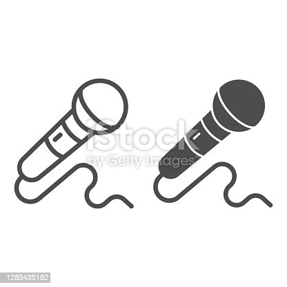 istock Microphone line and solid icon, Sound design concept, mic sign on white background, Microphone with cord icon in outline style for mobile concept and web design. Vector graphics. 1283435152