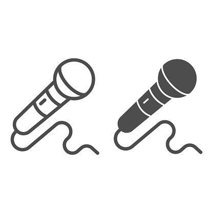 Microphone line and solid icon, Sound design concept, mic sign on white background, Microphone with cord icon in outline style for mobile concept and web design. Vector graphics.