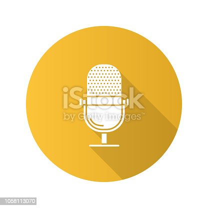Microphone flat design vector icon. Radio broadcasting