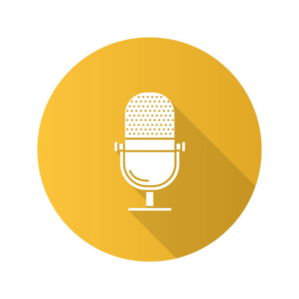 microphone linear icon - podcast stock illustrations