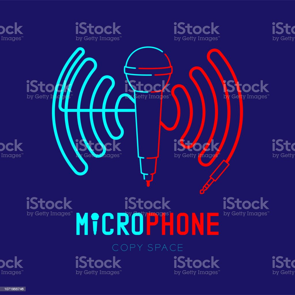Microphone logo icon outline stroke with wave frame from cable dash...
