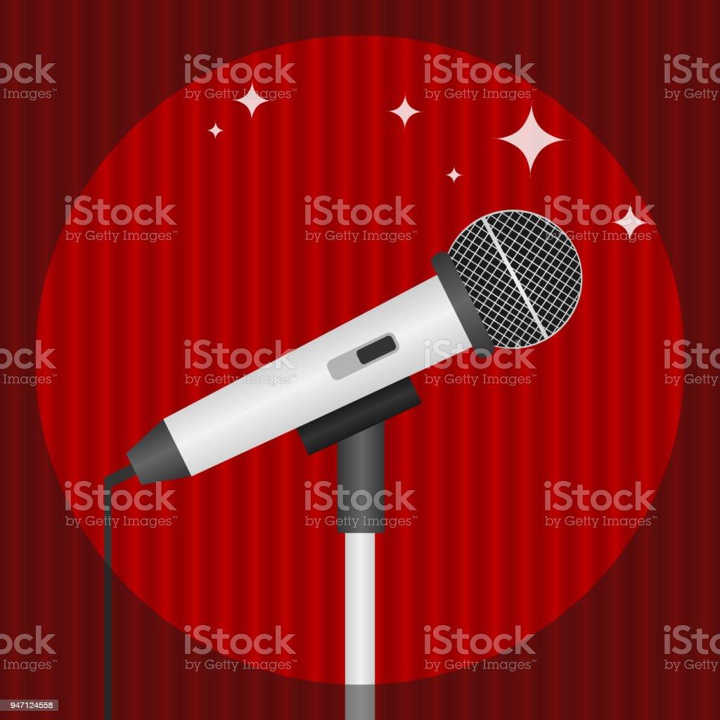 Een Microfoon Op Een Achtergrond Van Rode Gordijnen Verlicht Door ...