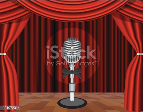 Microphone on a stage with a spotlight on it. Vector illustration. On background - CURTAIN which can be used as a pattern (seamless)