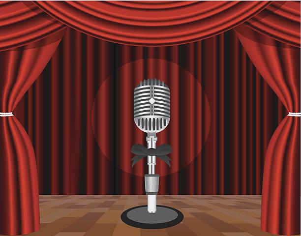 illustrazioni stock, clip art, cartoni animati e icone di tendenza di microfono su un palco - sipario