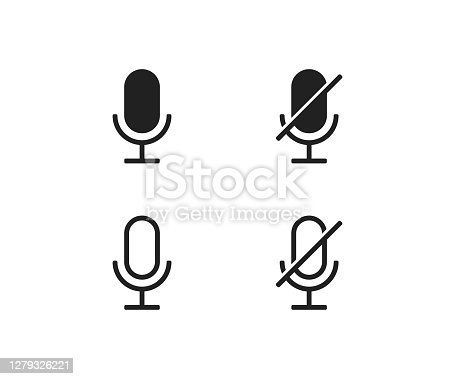 Microphone ON and OFF vector icon. Modern button for concept design. Isolated illustration for app
