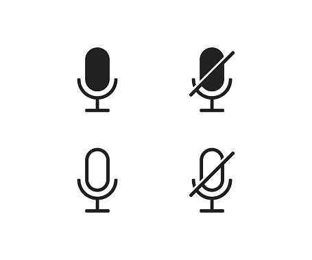 Microphone ON and OFF vector icon. Modern button for concept design. Isolated illustration