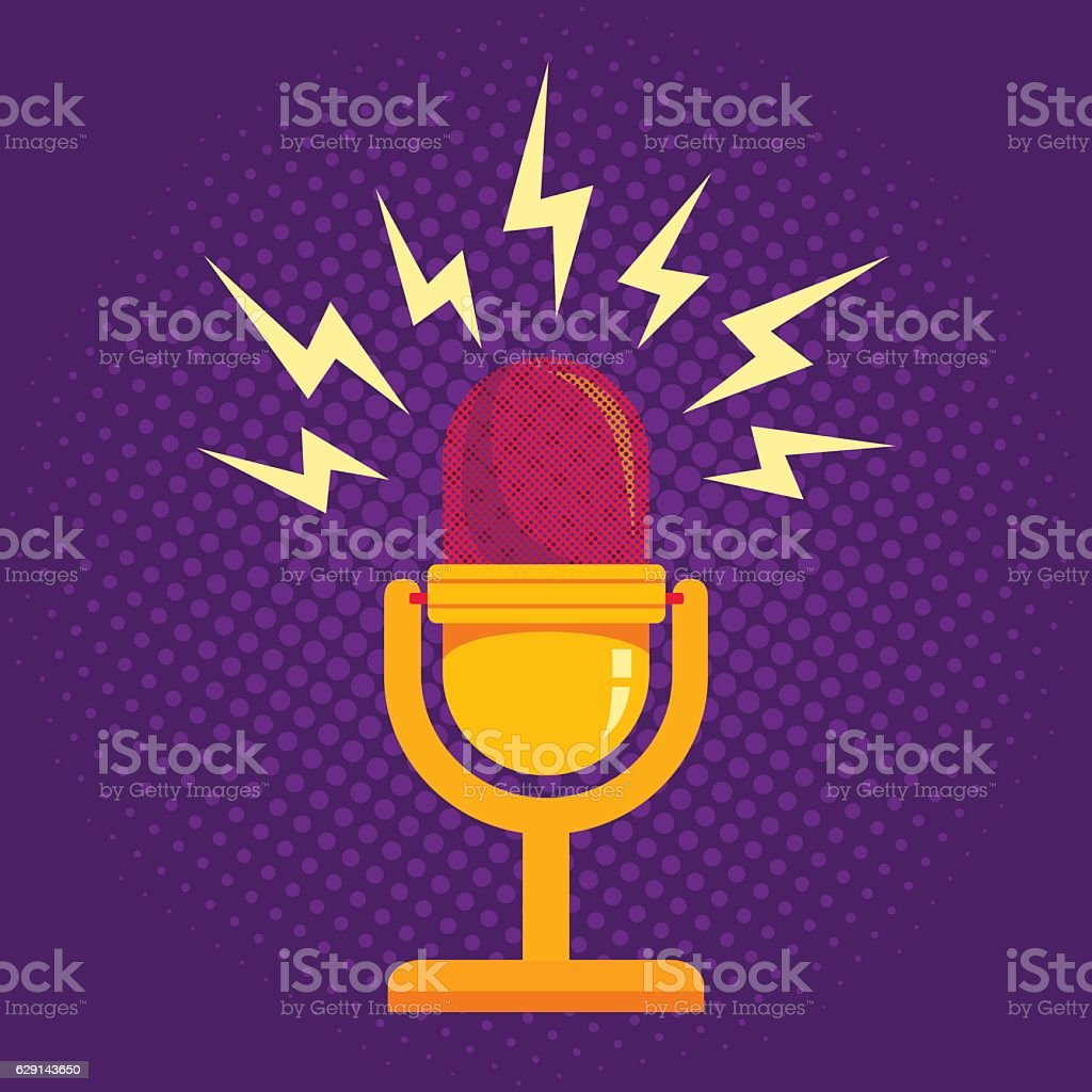 Microphone on halftone background vector art illustration