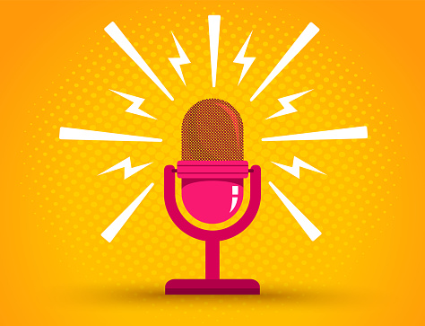 Microphone on yellow halftone background