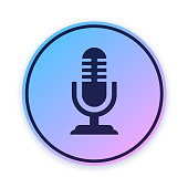Microphone Podcast Audio Icon Button
