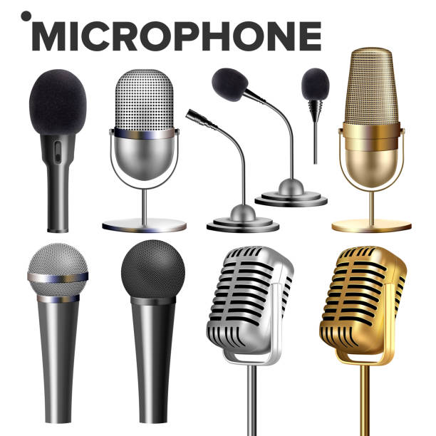 Microphone Set Vector. Audio Equipment. Music Icon. Vintage Concert. Modern And Retro. Communication Musical Symbol. Performance Karaoke Object. 3D Realistic Isolated Illustration Microphone Set Vector. Audio Equipment. Music Icon. Vintage Concert. Modern And Retro. Communication Musical Symbol. Performance Karaoke Object. 3D Realistic Illustration verbaasd stock illustrations