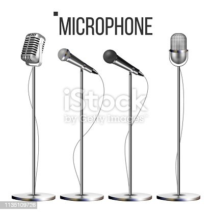 Microphone Set With Stand Vector. Music Icon. Vintage Concert. Modern And Retro. Audio Communication Musical Symbol. Performance. Illustration