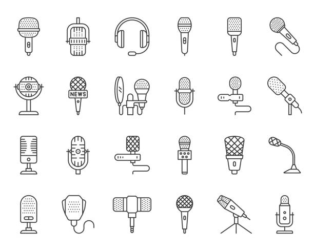 microphone simple black line icons vector set - record analog audio stock illustrations