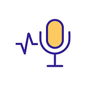 microphone, sound icon vector. Thin line sign. Isolated contour symbol illustration