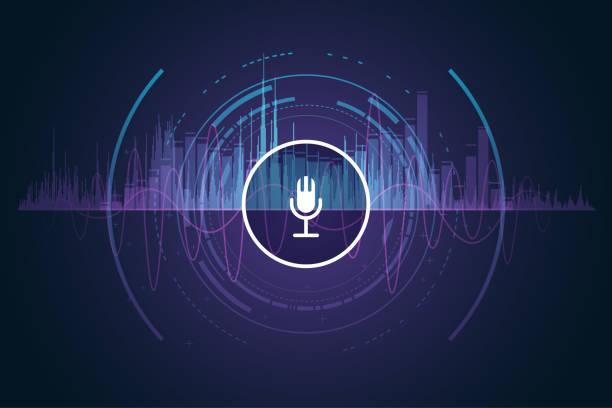 microphone sound record microphone sound record in vector verbaasd stock illustrations