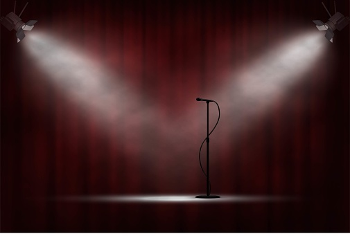 Microphone standing on stage in spotlight, red curtain background. Comedy show opening, celebration event, announcement, performance vector illustration. Ceremony invitation scene