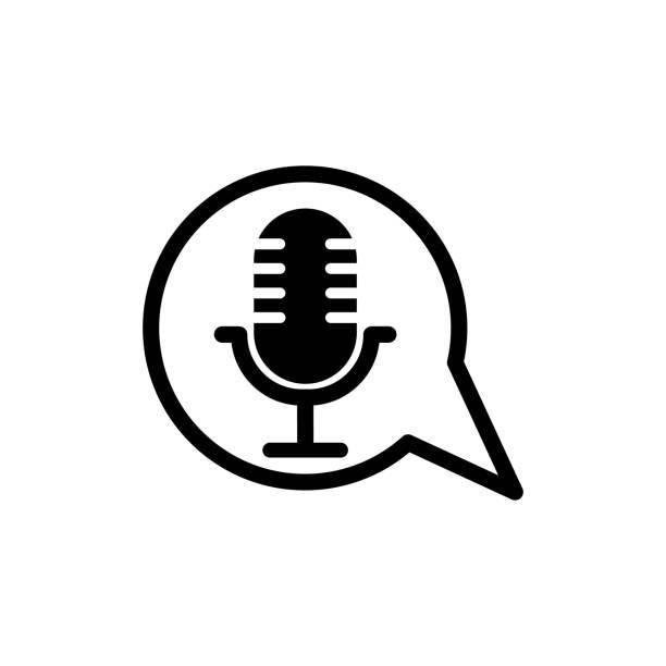 stockillustraties, clipart, cartoons en iconen met illustratiesjabloon voor afbeeldingsontwerp voor microfoonvector - podcast