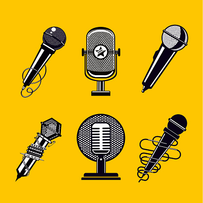 Microphone vector icon set. Vintage mic collection.