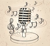 Drawn microphone & notes, vector artwork