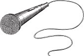 Microphone Ink Drawing - vector illustrations