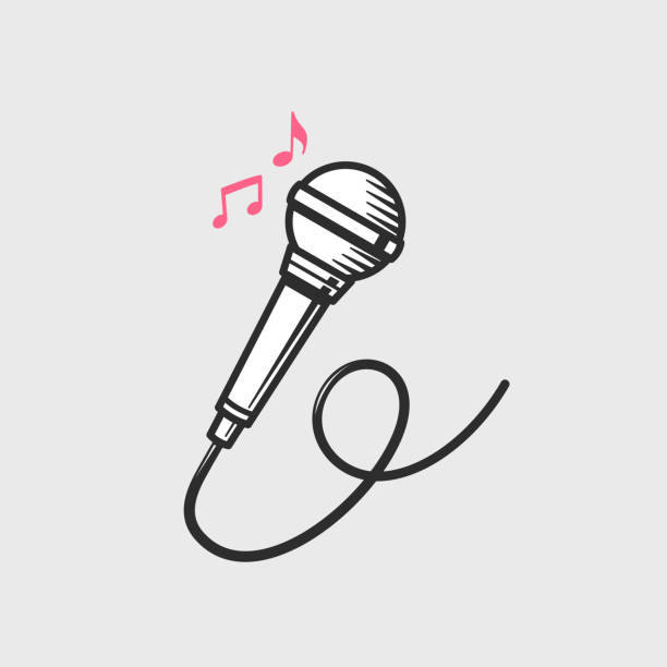 Microphone Microphone icon with music notes vector illustration microphone stock illustrations