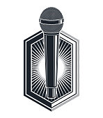 Microphone vector logo or emblem isolated on white, MC rapper or rap battle concept, stand up comic or radio, blogger.