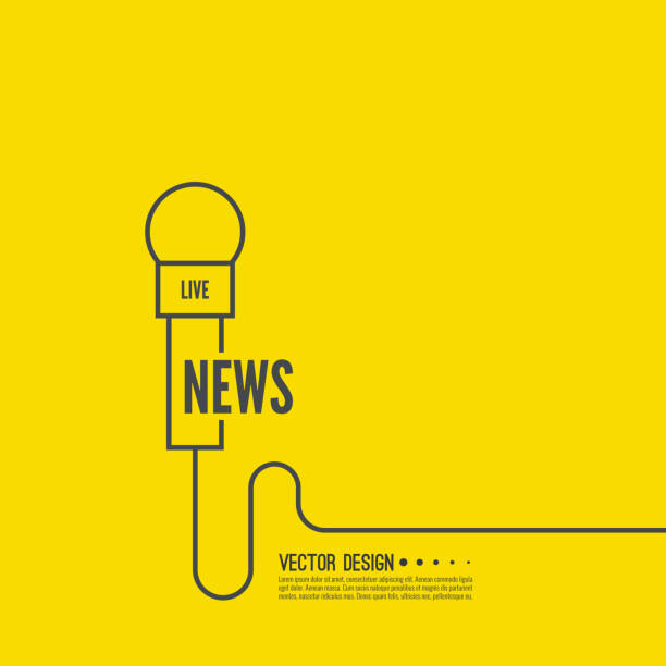stockillustraties, clipart, cartoons en iconen met microfoon met een draad. - journalist