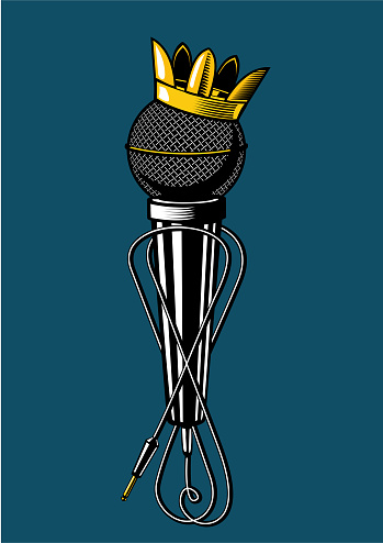 Microphone with kings crown.