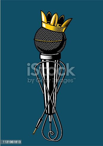 istock Microphone with kings crown. 1131961813