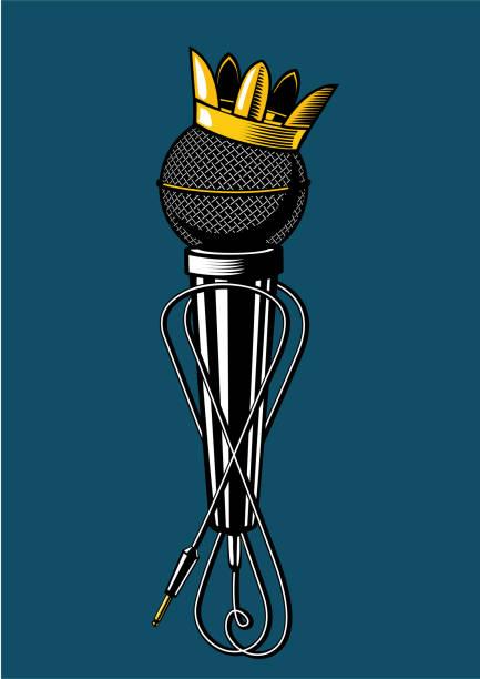 mikrofon mit königskrone. - swag stock-grafiken, -clipart, -cartoons und -symbole