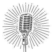 Microphone with ray. Vintage vector black engraving illustration
