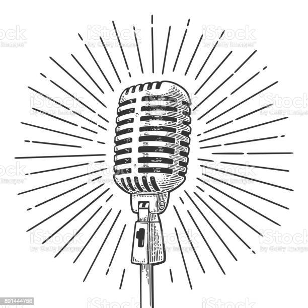Microphone with ray vintage vector black engraving illustration vector id891444756?b=1&k=6&m=891444756&s=612x612&h=iqjo csjbsmxvugtjc6sws4cznq1veh jwvetwts1qs=