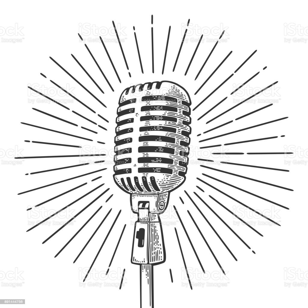 Microphone with ray. Vintage vector black engraving illustration vector art illustration