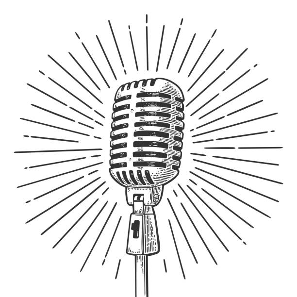 microphone with ray. vintage vector black engraving illustration - гравюра на дереве stock illustrations