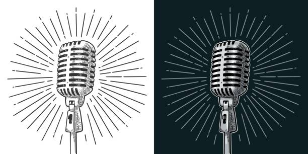 Microphone with ray. Vintage vector black engraving illustration Microphone with ray. Vintage vector color engraving illustration for poster, web. Isolated on white and black background. microphone stock illustrations