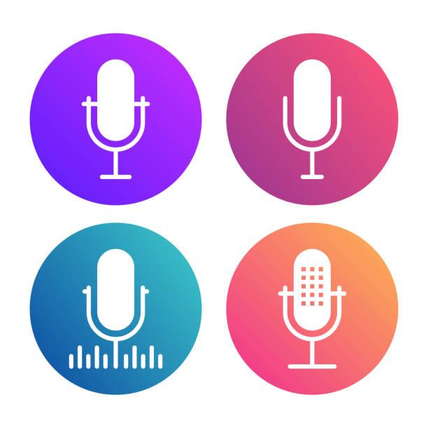 ilustrações, clipart, desenhos animados e ícones de cópia de microfone-ícones - podcast