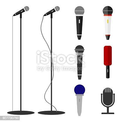 Microphones, a set of microphones. Standing microphone. Flat design, vector illustration, vector.