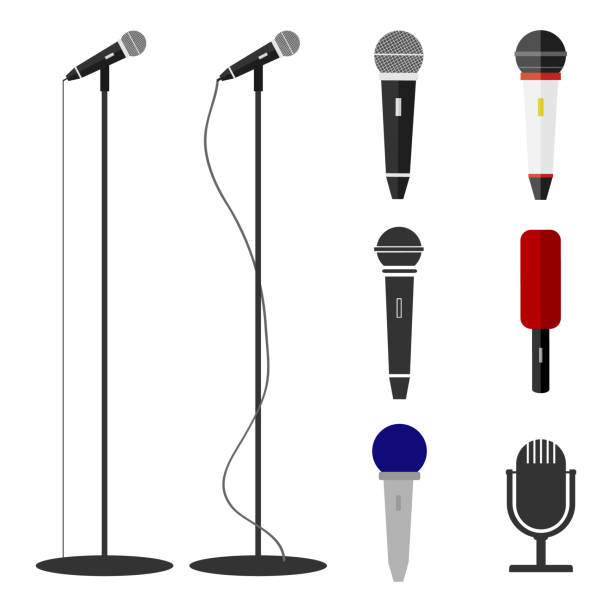 microphones, a set of microphones. standing microphone. - record analog audio stock illustrations