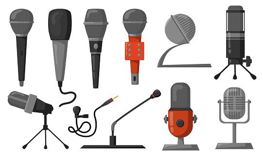 Microphones flat illustrations set