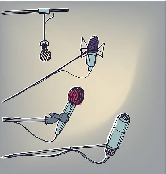 illustrations, cliparts, dessins animés et icônes de des micros.  graphisme dessiné à la main des éléments.  vecteur eps 10 - interview
