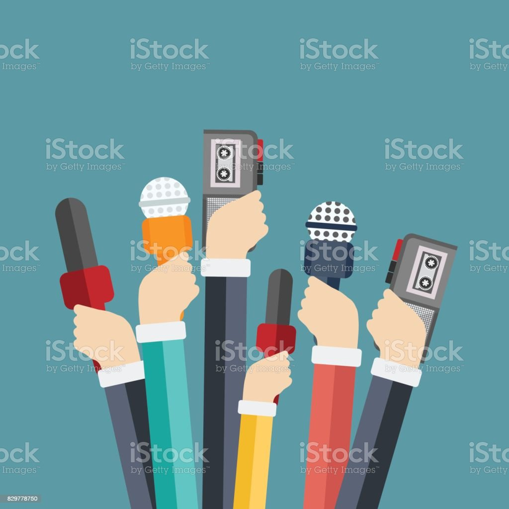 Microphones in reporter hands. Set of microphones and recorders isolated on blue background. Mass media, television, interview, breaking news, press conference concept. Flat vector illustration. vector art illustration