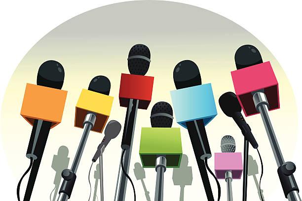 illustrations, cliparts, dessins animés et icônes de microphones sur le podium - interview