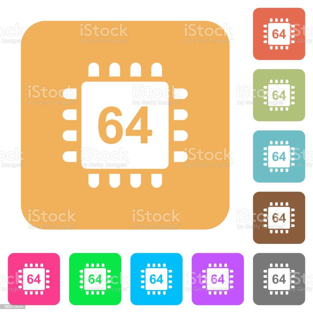 64 비트 아키텍처 마이크로프로세서 둥근 사각형 아이콘을 플랫 - 로열티 프리 0명 벡터 아트