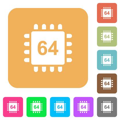 64 비트 아키텍처 마이크로프로세서 둥근 사각형 아이콘을 플랫 0명에 대한 스톡 벡터 아트 및 기타 이미지