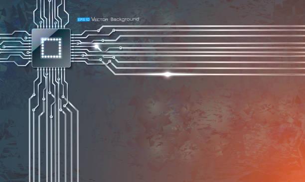 Microscheme Chip auf Grunge hintergrund – Vektorgrafik
